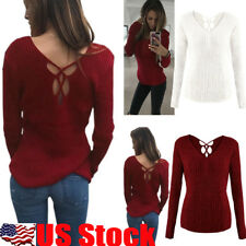 Womens Long Sleeve V Neck Sweater Jumper Slim Lace-Up Pullover Blouse Shirt Tops