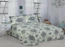 French Country Black King / Queen 3 Piece Quilt Set Reversible Floral Garden
