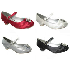 BUY GIRLS KIDS SPARKLY SATIN BRIDESMAID WEDDING FLOWER GIRL PARTY SHOES UK 6 - 3