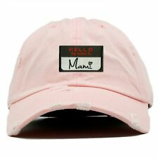 Hello My Name Is Mami Name Tag Distressed Pink Adjustable Dad Hat