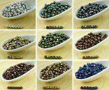 100pcs Metallic Round Faceted Fire Polished Czech Glass Beads Small Spacer 3mm