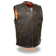 Milwaukee Leather Men's Zipper Front Collarless Vest W/ Full Side Laces *MLM3551