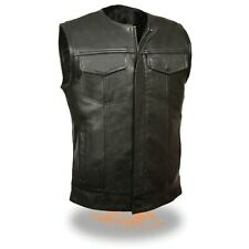 Mens SOA Club Style Collarless Leather Vest Snap & Zipper Front w/ 2 Gun Pockets
