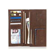 Men's Classical 100% Cowhide Leather Long Wallet Purse Checkbook Phone Clutch