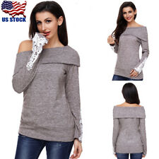 US Women's Knitted Off Shoulder Shirt Crop Top Ladies Long Sleeve Blouse Sweater