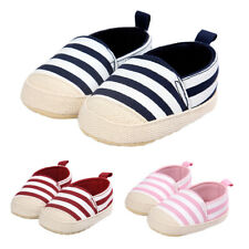 Baby Infant Baby Cute Stripe Shoes Girl Soft Sole Sneaker Crib Shoes 0-18months
