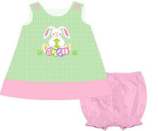 Girls Dress Easter Bunny Popover Applique Panty Dress Babeeni NWT