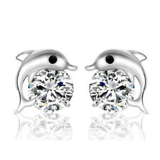 New Fashion Womens Cute Crystal Eyes Dolphin Stud Earrings Silver Plated Jewelry