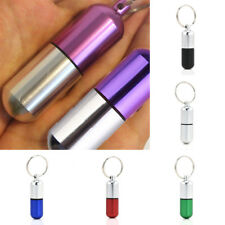 Mini Waterproof Aluminum Medicine Pill Bottle Box Case Holder Container Keychain