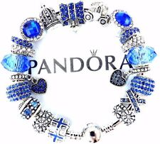 Authentic Pandora Sterling Silver Bracelet European Charm Royal Blue Gift Love