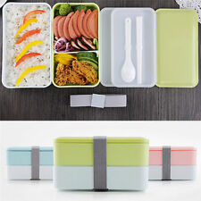 900ML 2 layer Japanese Lunch Box Picnic Bento Food Container + Spoon Chopstic
