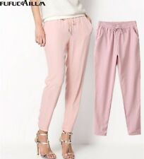 Women's Pants Long Casual Harem Pure Color Elastic Chiffon Trousers