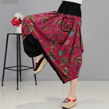 Women's Vintage Hippie Asymmetric Wide Leg Harem Pants  Loose Casual Trousers