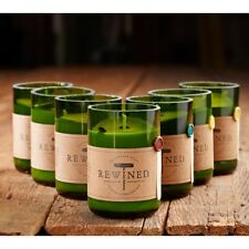 Recycled Wine Bottle Rewined Candle Holder & Scented Soy Wax Candle 60-80hr Burn