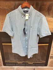 Polo Ralph Lauren Short Sleeve Indigo Dyed Oxford Cotton Shirt Slim Fit NWT
