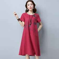 New Fashion Cotton Fabric Linen Vintage Print Casual Loose Dress For Women