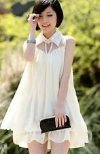 Ruffle Decorated Chiffon Fabric Sleeveless Casual Mini Dress For Women