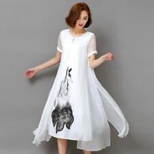 Printed Short Sleeve O-Neck Plus Size Mid-Calf Length Dress For Women