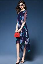 Floral Printed Chiffon Material Plus Size Casual Mid Calf Dress For Women