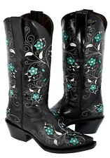 Womens Flower Embroidered Western Leather Cowgirl Boots Rodeo Snip Toe