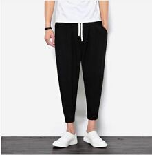 Summer Style Casual Ankle-Length Cotton Solid Color Loose Pant For Men