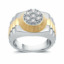 DeCarat 1/4 CT.T.W. Diamond Sterling Silver With Yellow Plated Blossom Mens Ring