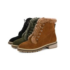 Fashion Womens Warm Winter Boots Casual Suede Martin Boots Lace Up Solid Shoes