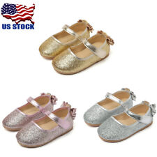 USA Girls Baby Toddler Princess Bowknot Sequin Dress Flats Mary Jane Shoes Size