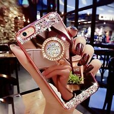 Luxury Bling Diamond Crystal Ring Holder Stand Mirror Soft Case Phone Cover S005