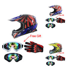 New Motorcycle Off Road ATV Helmet+Goggles+Gloves DOT Motocross Protect Gear UDD