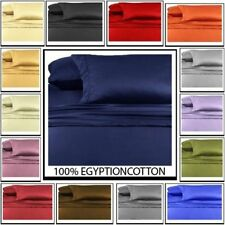 "1000-TC Egyptian Cotton 15"" Deep Pocket 6pc Solid Bed Sheet Set All Size & Color"