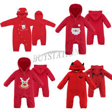Cute Baby Boys Girls Christmas Santa Elf Costume Romper Bodysuit Hat Outfit Xmas