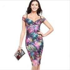 Women Short Sleeve Fashion Floral Printed Deep V-neck Party Wear Pencil Dress