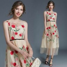 Vintage Fashion Floral Pattern Embroidered Pleated Dress for Women
