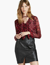 Lucky Brand Womens Red Floral Ruffle Blouse