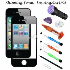 Black Outer Screen Glass Lens Replacement UV light Tool Kit For iPhone 4/4S Glue