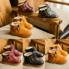 Warm Girls Boys Kids Snow Ankle Boots Buckles PU Soft Sole Anti-slip Shoes 5-9.5
