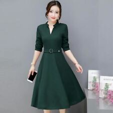 Women Simple Style New Fashion Solid Color V Neck Dress With Belt OP7