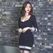 Women Black Color New Fashion Three Quarter Sleeve Mini Pencil Dress O286
