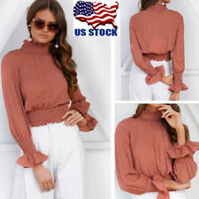 US Women's High Neck Long Flared Sleeve Pleated Tank Ladies OL Shirt Blouse Tops