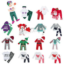 Baby Kids Boys Girls Christmas Romper Pants Outfit Toddler Dress Up Clothes Set