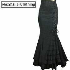 Chic Star Black Jacquard Laces and Ruffles Fishtail Skirt Victorian Gothic Goth