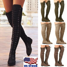 Womens Lace Up Low Heel Thigh High Over The Knee Stretch Riding Boots Shoes Size