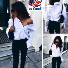 US Womens Sexy Lace Up Deep V Backless Shirt Casual Soild Long Sleeve Blouse Top