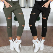Slim Fit Stretchy  Faded Ripped New Womens Ladies Pants Skinny Leggings Trousers