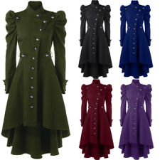 Womens Vintage Long Coat Puff Shoulder Steampunk Dip Hem Warm Winter Trench Coat