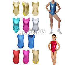 Kid Girl Gymnastics Leather Ballet Leotard Tutu Dress Dancewear Costume Bodysuit