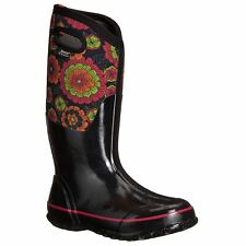 Bogs Classic Pansies Black Multi Womens Rubber Insulated Wellington Rain Boots