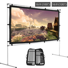 """100/120"""" Portable 16:9 HD Movie Projection Screen w/Stand & Carrying Bag Lot LJ"""