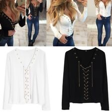 Women Long Sleeve V Neck With Chain Lace Up Slim Fit Blouse Base Shirt Tops